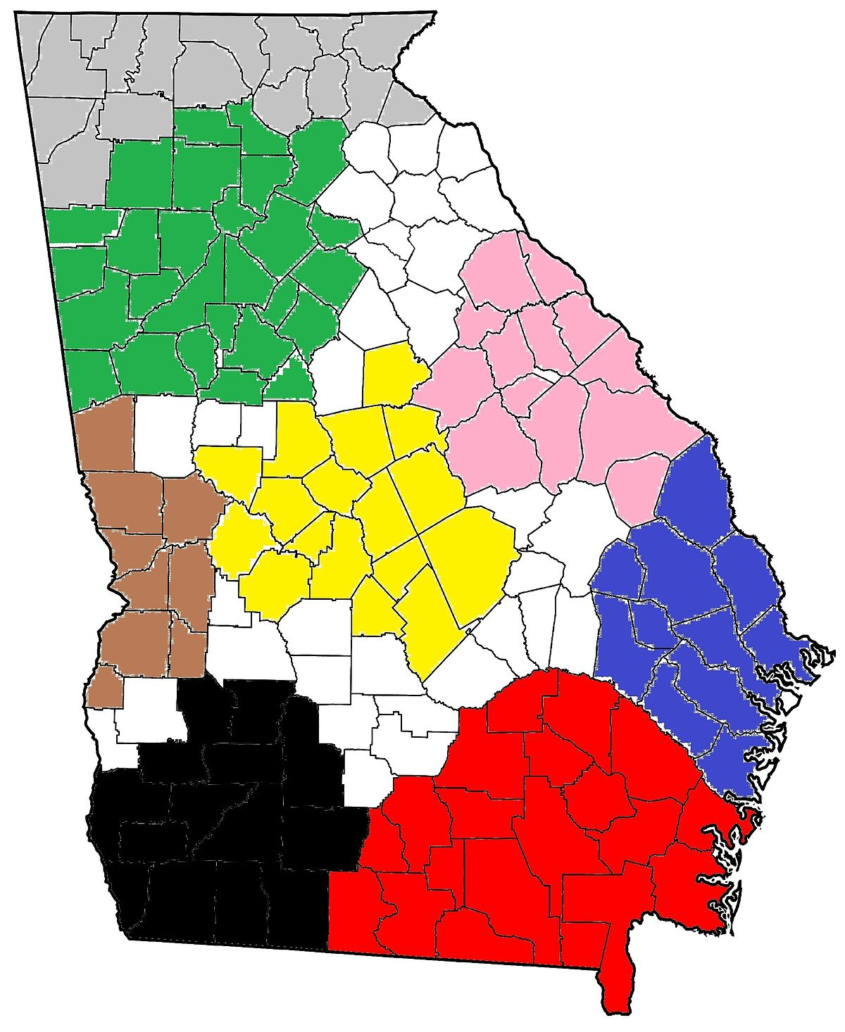 Southwest Georgia Wikipedia - Georgia map with regions