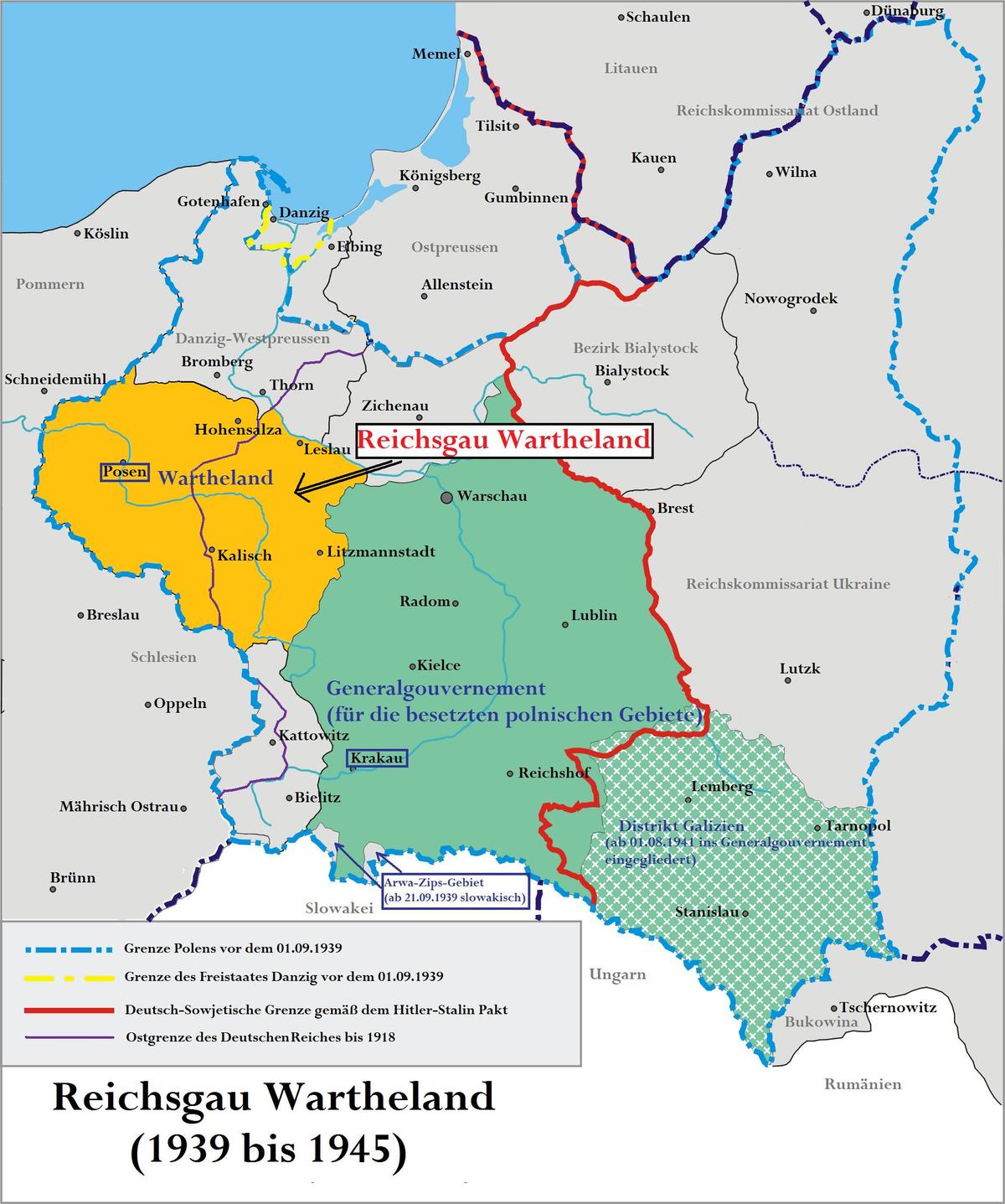 Wartheland – Wikipedia - Deutschland 1939 Karte