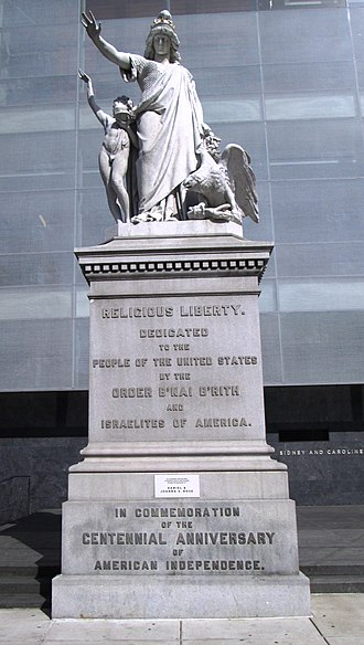 "B'nai B'rith - Religious Liberty, a statue commissioned by B'Nai B'rith for the 1876 Centennial Exposition and dedicated ""to the people of the United States"". By Moses Jacob Ezekiel, a B'nai B'rith member and the first American Jewish sculptor to gain international prominence."