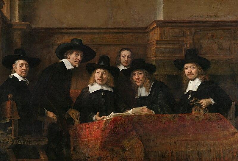 File:Rembrandt - De Staalmeesters- het college van staalmeesters (waardijns) van het Amsterdamse lakenbereidersgilde - Google Art Project.jpg