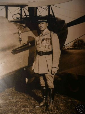 Aerial victory standards of World War I - René Fonck, the highest scoring ace to survive the war, standing beside his Spad XIII