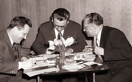 Kardelj, Rankovic and Tito in 1958 Resolucija VII. kongresa o prihodnjih nalogah ZKJ.jpg
