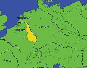The Rhineland includes parts of Germany west of the Rhine river (in yellow), as well as areas on the east bank.
