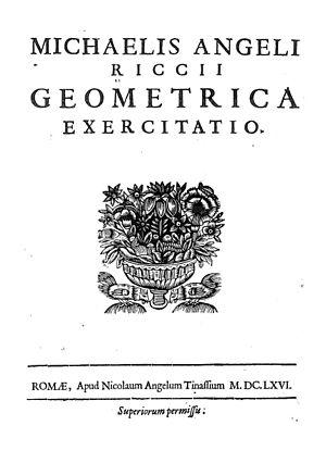Michelangelo Ricci - Geometrica exercitatio, 1666
