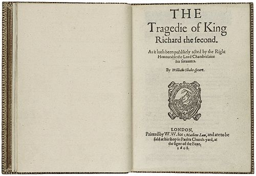 The title page from the 1608 quarto edition of the play. Richard II quarto.jpg