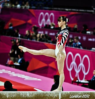 Japan at the 2012 Summer Olympics - Rie Tankaka performs the balance beam in women's all-around.
