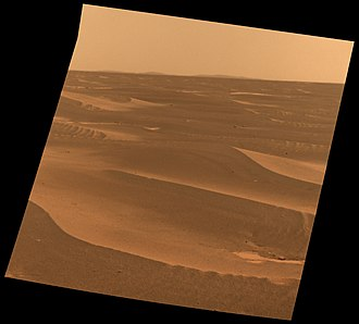 Schiaparelli EDM lander - Another view of Meridiani Planum by the Opportunity rover. Bopolu crater rim is in the distance, also south of the Schiaparelli landing zone