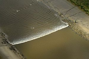 River Ribble - Tidal bore on the Ribble, between the River Douglas and Preston