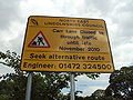 Road works sign on A46 Clee Road, North East Lincolnshire - DSC07321.JPG