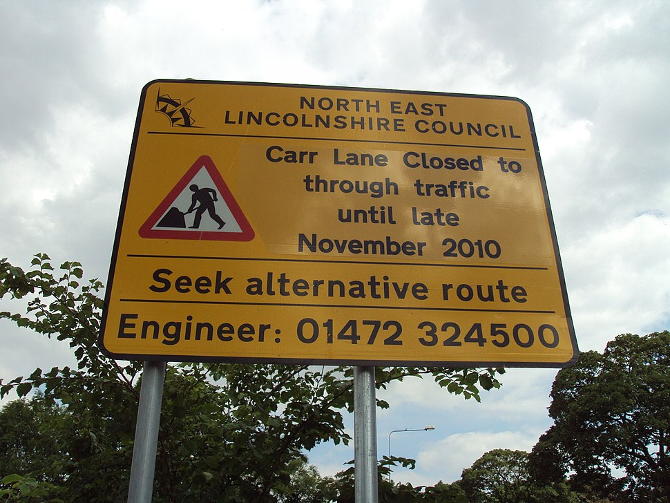 Road works sign on A46 Clee Road, North East Lincolnshire - DSC07321