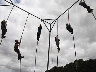 Commando Training Centre Royal Marines - Royal Marine Recruits Rope Climbing at the Commando Training Centre