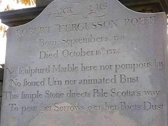 Robert Fergusson - The Burns epitaph on the poet's headstone in Edinburgh's Canongate Kirkyard