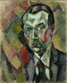 Robert Delaunay, 1909, Autoportrait, Self-portrait, oil on canvas, 73 x 59.4 cm, 28 3-4 x 23.3-8, MNAM, Pompidou Paris.png