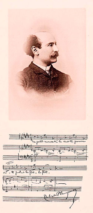 Robert Planquette - Robert Planquette (album leaf with photo portrait and autograph musical quotation)