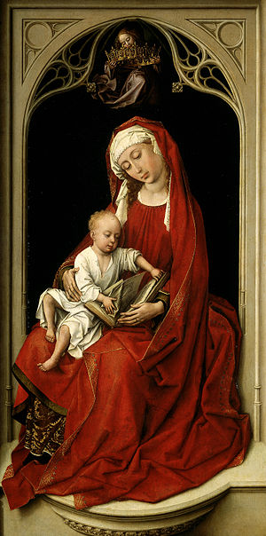 Virgin and Child Enthroned - Van der Weyden, The Durán Madonna, c. 1435–38, Museo del Prado, Madrid