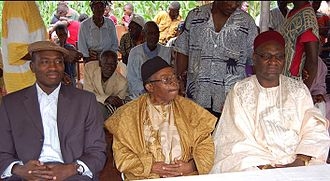 Bandrefam - His Majesty Jiejip Pouokap, King of Bandrefam and his peers from Bangoua (left) and Batoufam (right)