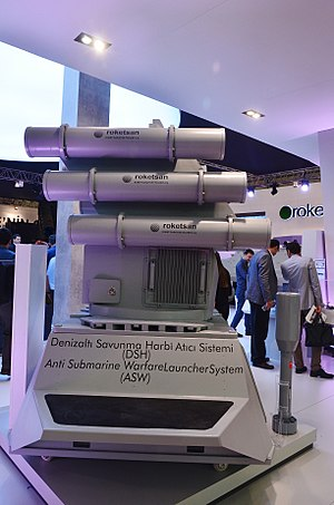 ROKETSAN - Anti-submarine warfare launcher system ASW at the stand of Roketsan during the IDEF 2015.