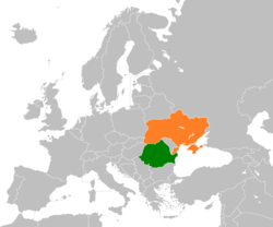 Map indicating locations of Romania and Ukraine
