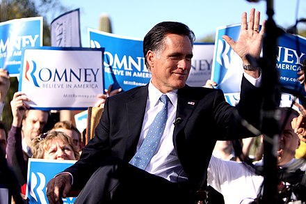 Mitt Romney on the campaign trail Romney 2011 Paradise Valley, AZ rally.jpg