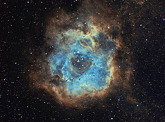 Rosette Nebula - Image: Rosette Nebula Narrowband SHO focal length 384mm Stephan Hamel