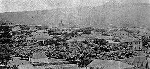 ʻIolani Palace - Pohukaina with the Royal Tomb to the left, Hale Aliʻi directly behind with the two story home of Kana'ina and Kekauluohi to the far right, where Lunalilo was born