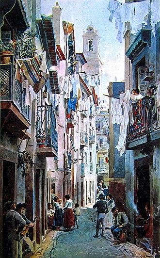Alfredo Roque Gameiro - Rua de São Miguel in Alfama (from Lisboa Velha)
