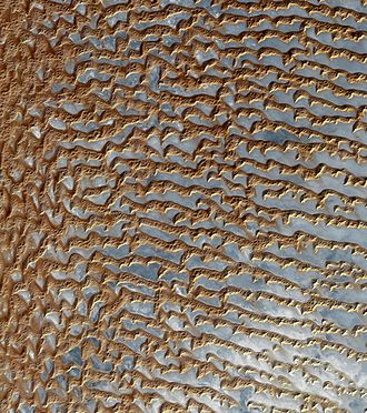 Rub' al Khali -  Satellite image of sand dunes in the Empty Quarter.