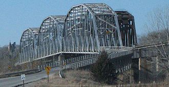 U.S. Route 159 - The former Rulo Bridge (US 159) from the Missouri side with the Burlington Northern bridge to the right (north)