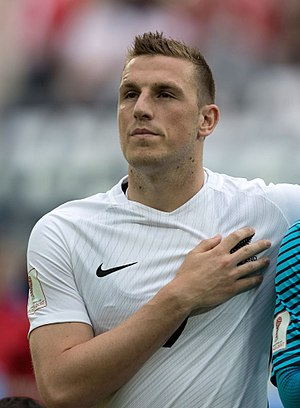 Chris Wood (footballer, born 1991) - Wood lining up for New Zealand at the 2017 FIFA Confederations Cup