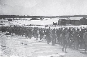 Invasion of Åland - Captured Russians are escorted to Eckerö