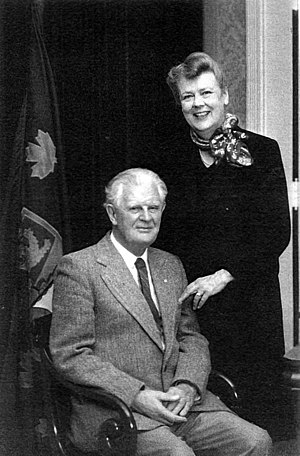 Lieutenant governor (Canada) - George Stanley (left), designer of the Canadian national flag and Lieutenant Governor of New Brunswick from 1981 to 1987, with his wife, Ruth