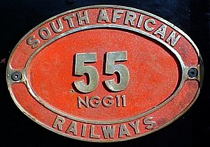 South African Class NG G11 2-6-0+0-6-2 - English only plate