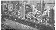 Interior view of a Swiss SBB Ae 4/6 locomotive, showing the four pairs of traction motors, directly above each axle.