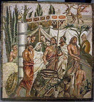 Human sacrifice - The Sacrifice of Iphigeneia, a mythological depiction of a sacrificial procession on a mosaic from Roman Spain