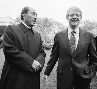 Egypt–United States relations - Egyptian President Anwar Sadat with US President Jimmy Carter outside the White House in 1977.