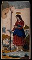 Saint Genevieve. Coloured wood engraving by C.R. (?) Wellcome V0033228.jpg
