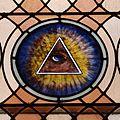 Saint Joseph Church (Plain City, Ohio) - interior, stained glass, Eye of Providence.jpg