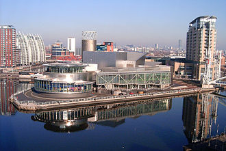 Imperial War Museum North - View from the museum's air shard viewing platform; The Lowry opposite the museum in Salford, across the Manchester Ship Canal.