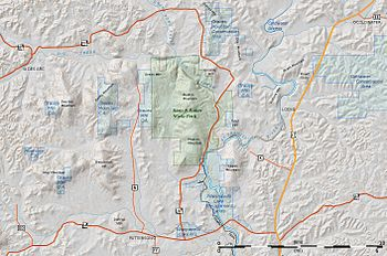 English: topographic map of Sam A. Baker State...