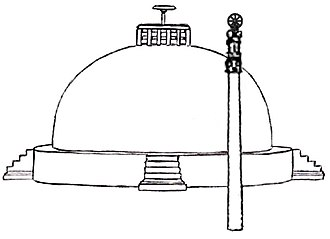 History of Buddhism - Approximate reconstitution of the Great Stupa with Ashoka Pillar, Sanchi, India.