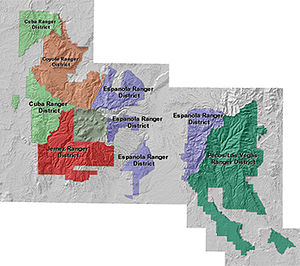 Santa Fe National Forest - A map of the Santa Fe National Forest showing the widely separated Ranger Districts.