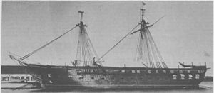 USS Santee (1855) - The former USS Santee being used as a training ship, classroom and barracks ship about 1875 at the US Naval Academy.