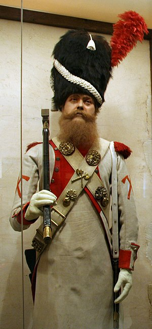 Pioneer (military) - A French pioneer, of the 3rd foot grenadiers of the guard Regiment (Dutch Grenadiers), Grande Armée, from the Napoleonic Wars, in the Emperi Museum, Salon-de-Provence, France