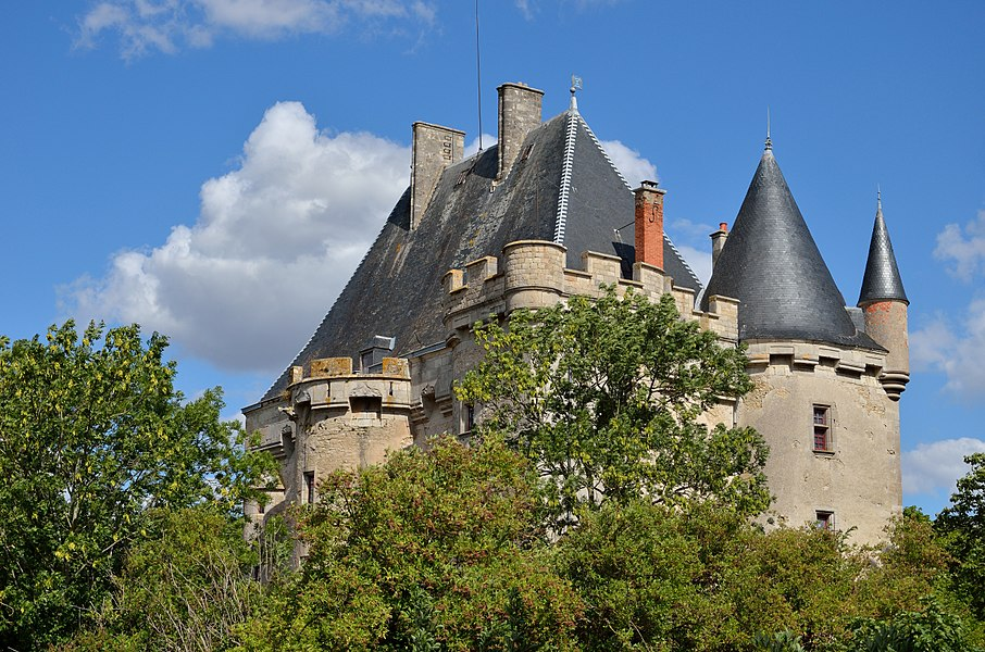 Château de Beauverger, à Saulzet (Allier). Vue nord-ouest, laissant voir les trois tours subsistantes.