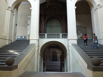 Galleria nazionale di Parma - The monumental staircase that leads to the National Gallery of Parma.