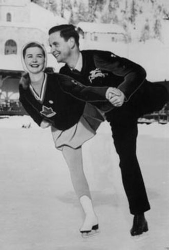 Barbara Ann Scott - Barbara Ann Scott and Hans Gerschwiler practice together before the 1948 Winter Olympics. Both went on to win medals - Scott gold and Gerschweiler silver.