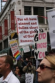 Anti-homosexuality Christian protesters at a gay pride parade, 2007. Seattle, Washington, United States.