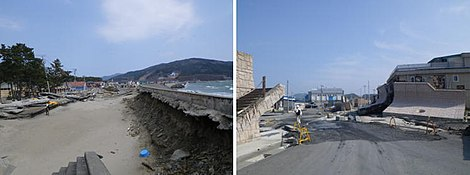 Seawalls damaged by scouring in Ishinomaki city -left, 26-4-2011- and by sliding in Yamada town -right, 31-5-2011-.jpg