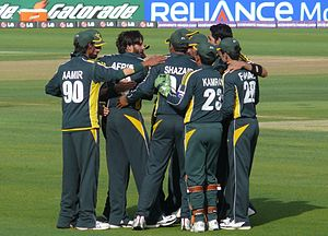 From left to right – Mohammad Aamer, Shahid Afridi, Shahzaib Hassan, Kamran Akmal and Fawad Alam. Umar Gul is also prominent in the picture.