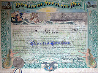 Line-crossing ceremony - Shellback certificate awarded to Charles Cameron, aboard USS Utah (BB-31), commemorating his first crossing of the Equator, December 1, 1928. This is typical of certificates awarded in the pre-WWII period.